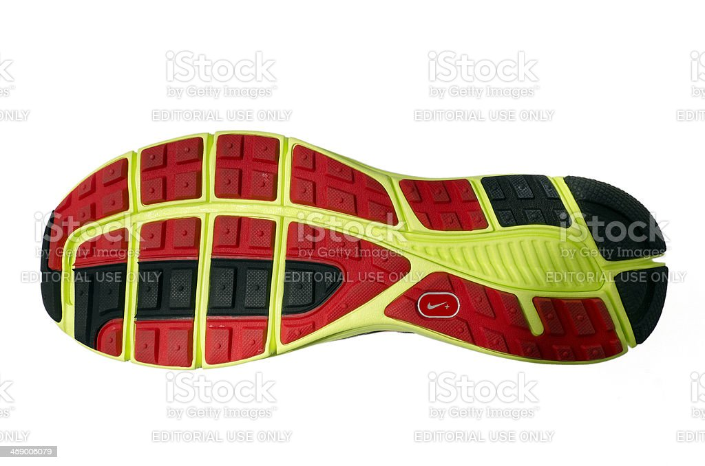 Sole of a Nike Lunarglide Trainer stock photo