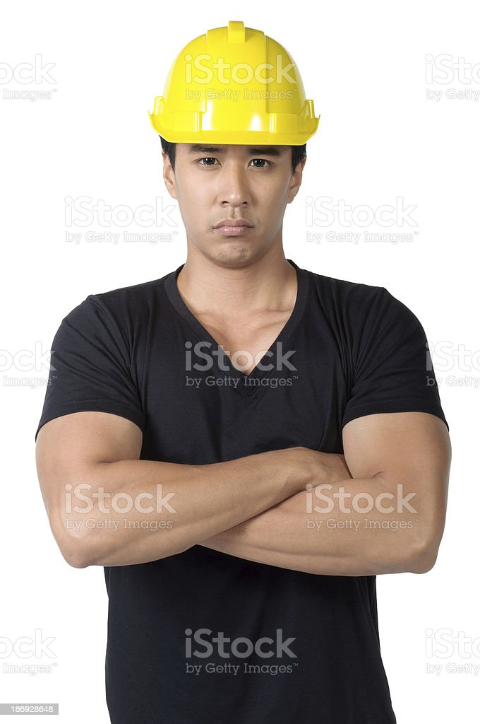 solemn young  foreman isolated royalty-free stock photo