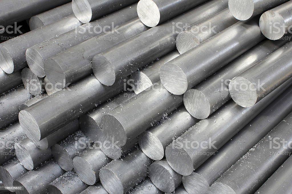 Solid aluminum tubes stock photo