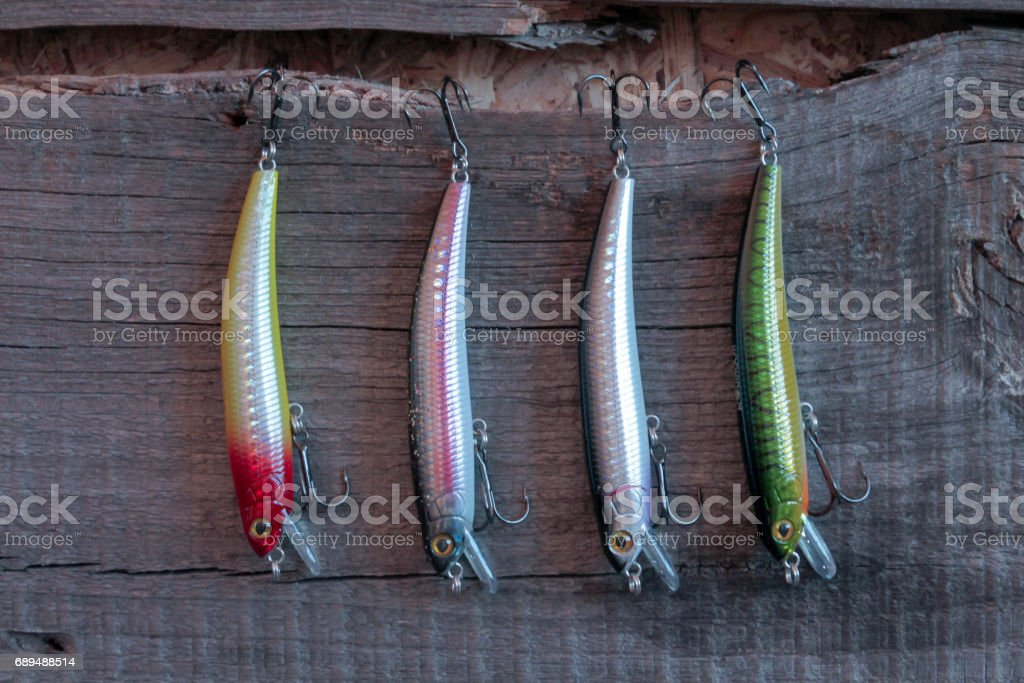 Solid bait for fishing. Artificial fish. Fishing. stock photo