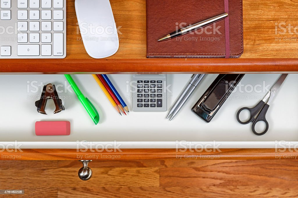 Solid cherry wood office desk for work stock photo