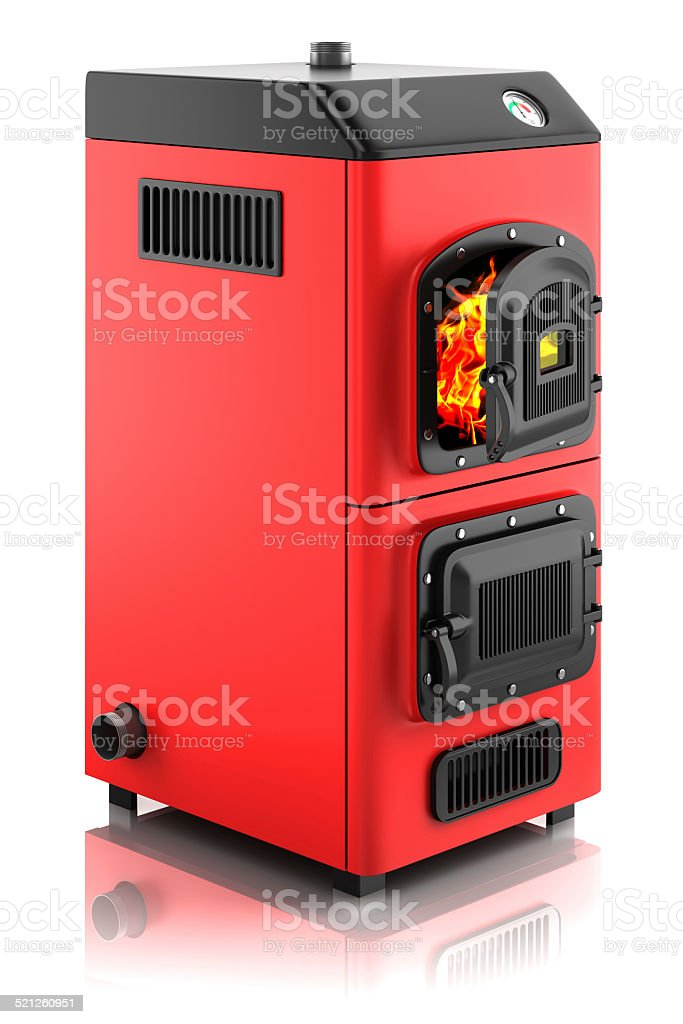 Solid fuel boiler. stock photo