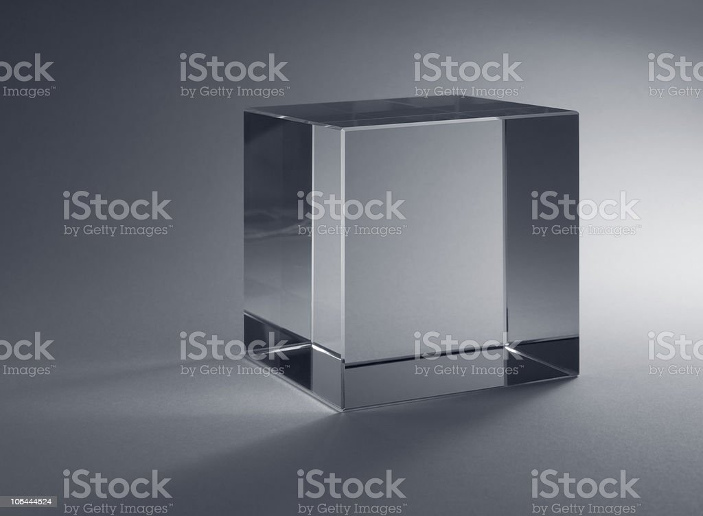 solid glass cube stock photo