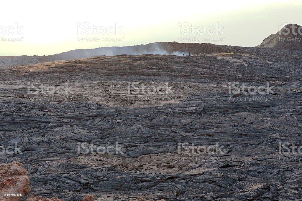 Solid lava field-caldera of the Erta Ale volcano. Danakil-Ethiopia. 0245 stock photo
