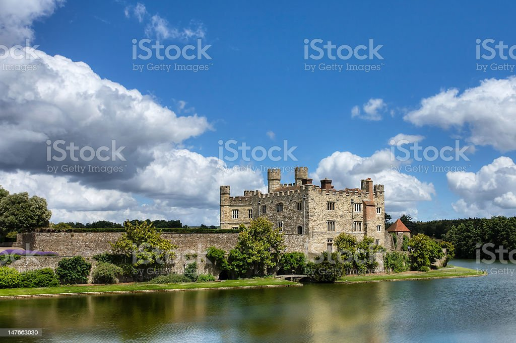 Solid magnificent castle of Leeds along riverside stock photo