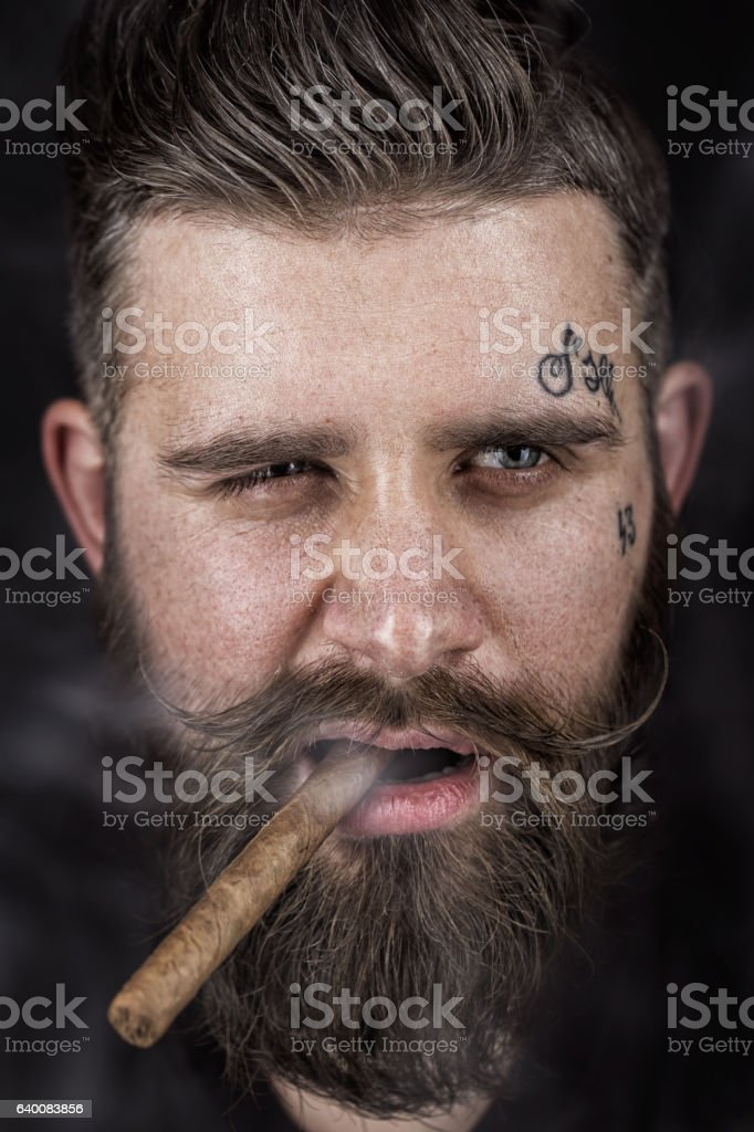 Solid man with beard and mustache. stock photo