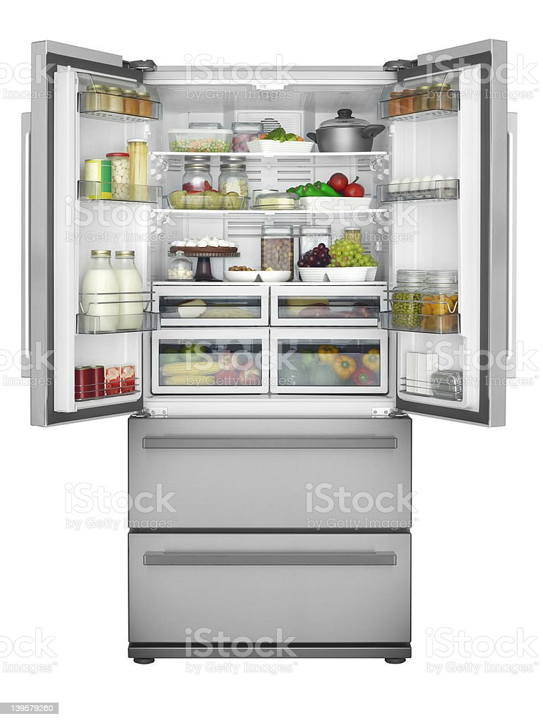 Solid open refrigerator stock photo