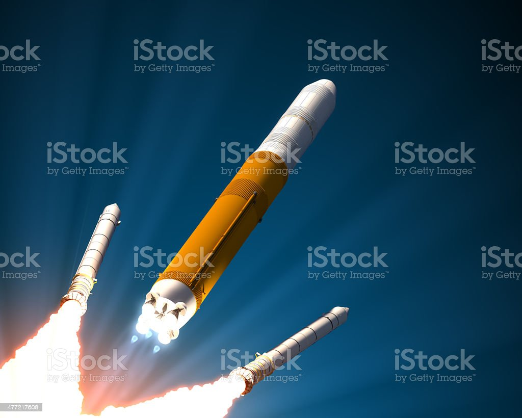 Solid Rocket Boosters Separation stock photo
