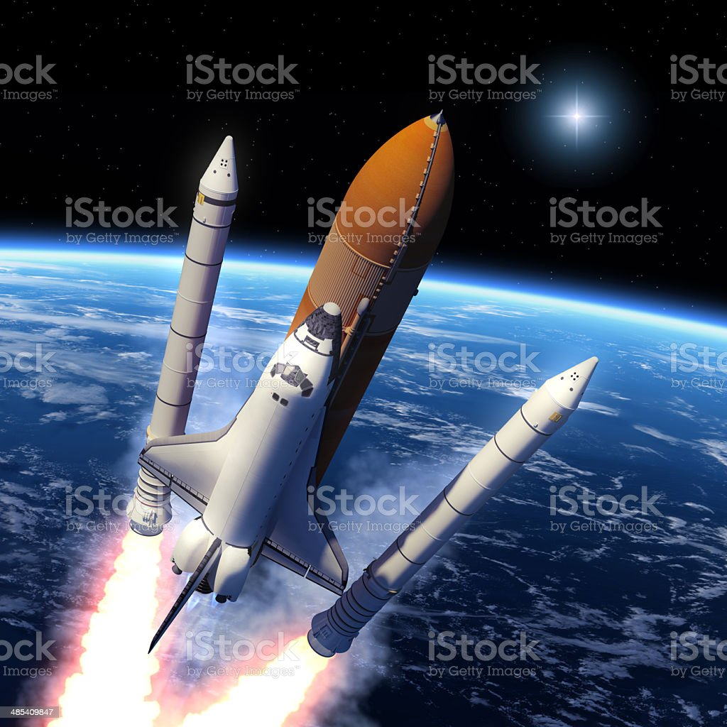 Solid Rocket Buster Detached. stock photo