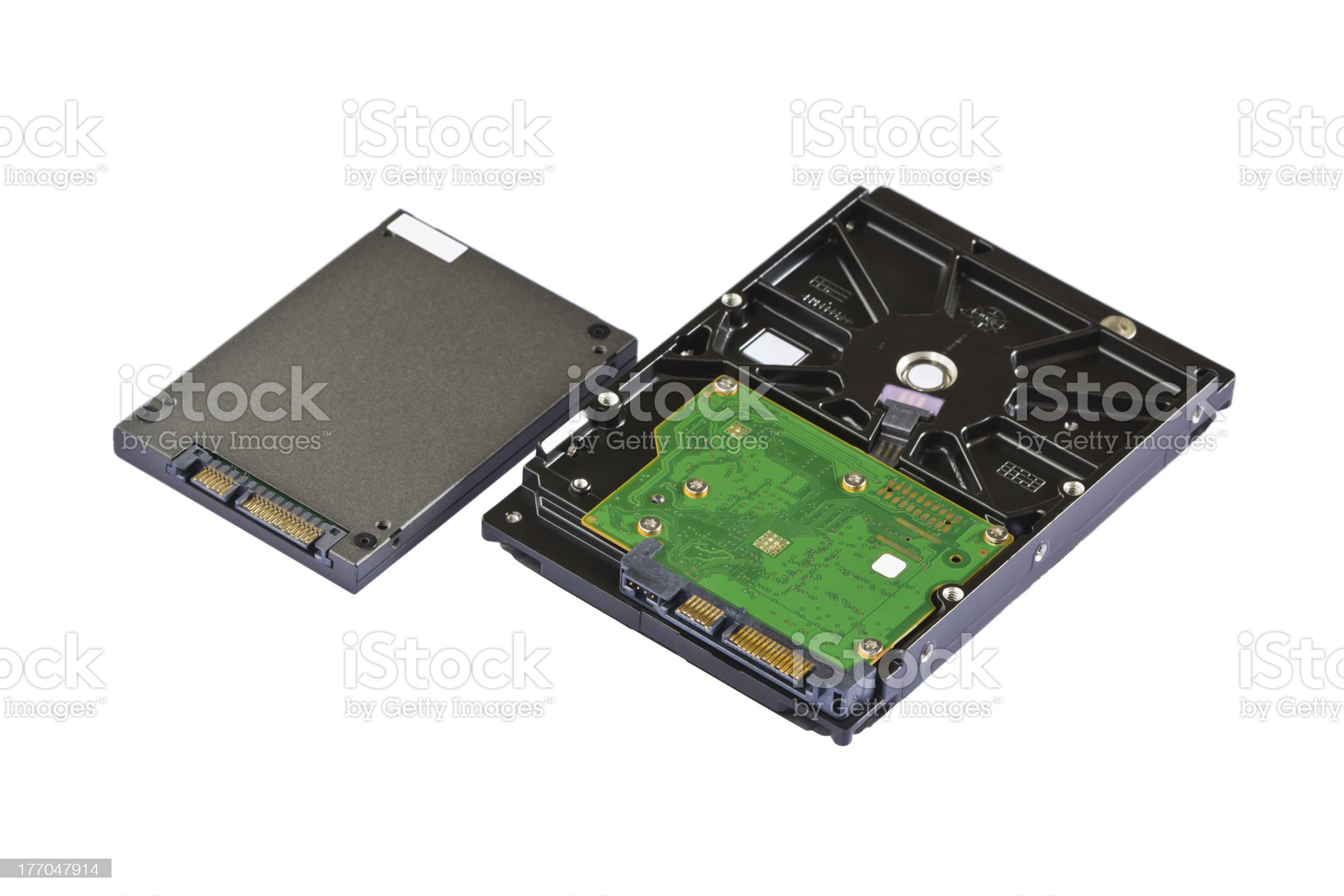 Solid state (SSD) and hard disk drive (HDD) royalty-free stock photo