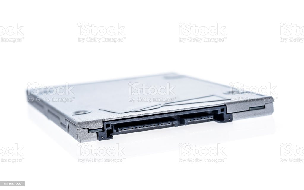 Solid state drive SSD isolated on white background. stock photo