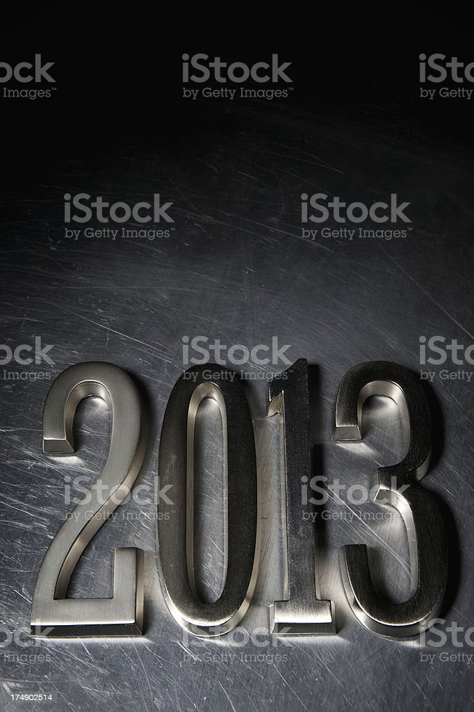 Solid State Stainless Steel 2013 Message on Metal royalty-free stock photo