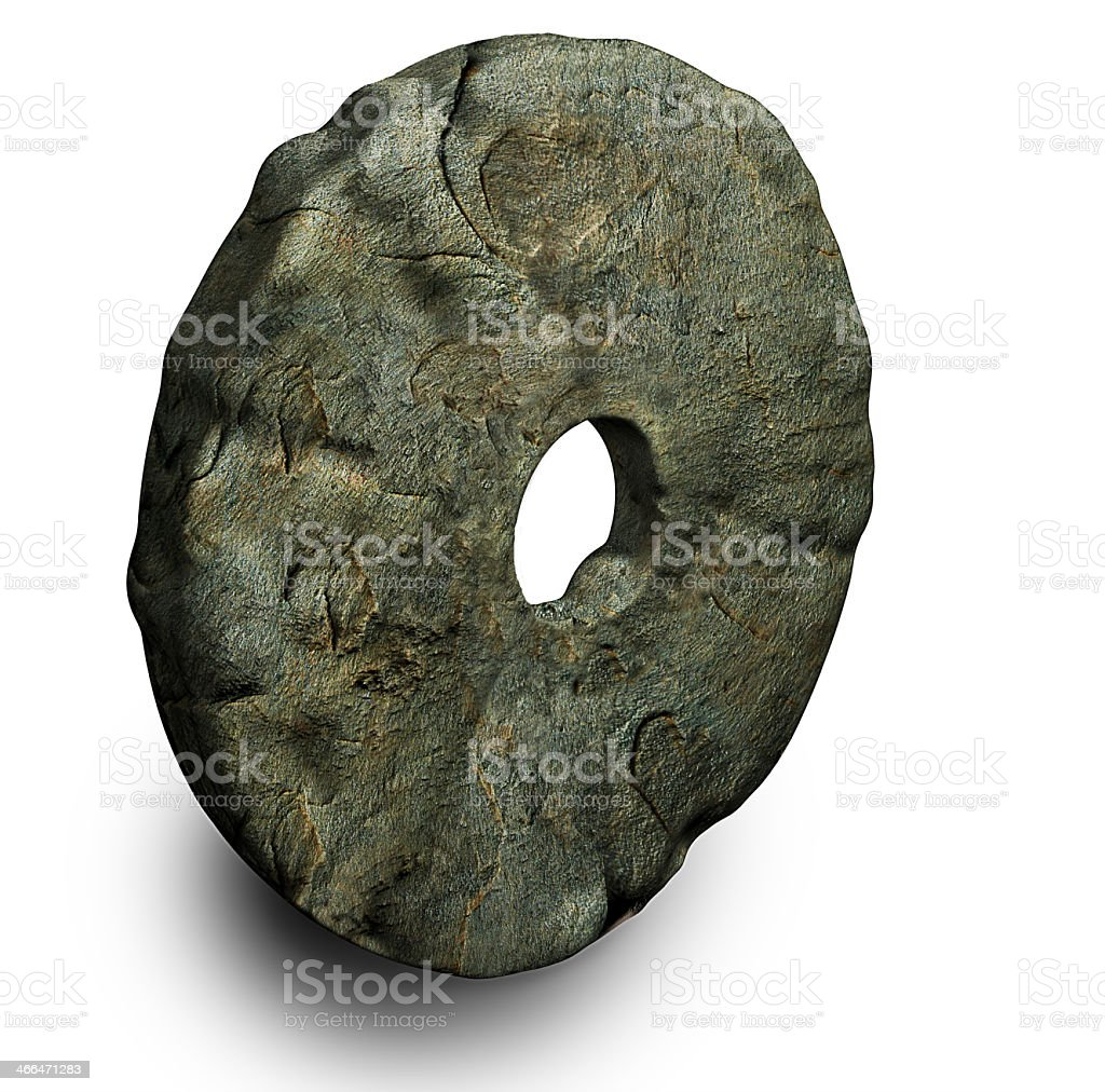 Solid stone wheel with a hole in the center stock photo