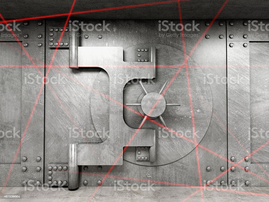 A solid vault safer with red lasers stock photo