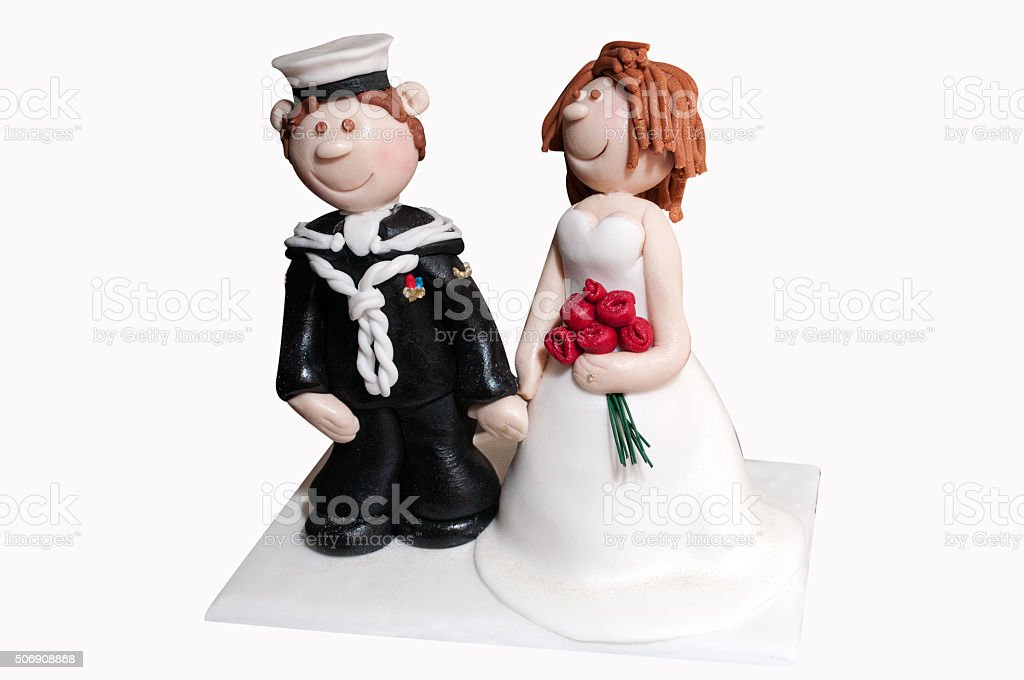 Solider and bride wedding cake decoration topper stock photo