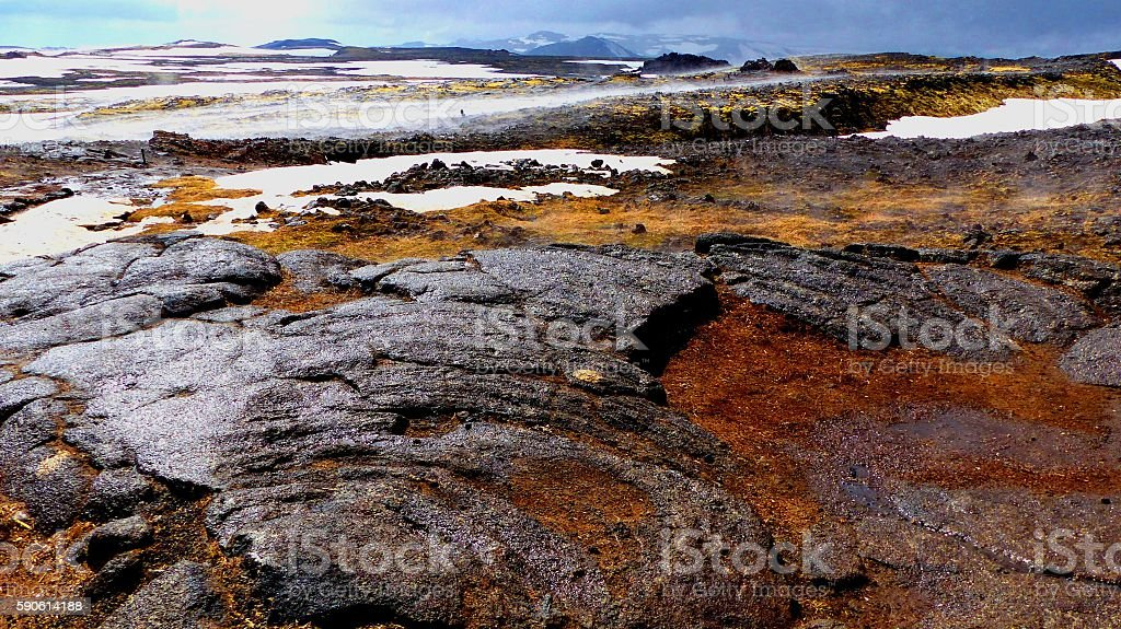 Solidified Basaltic Lava in Iceland stock photo
