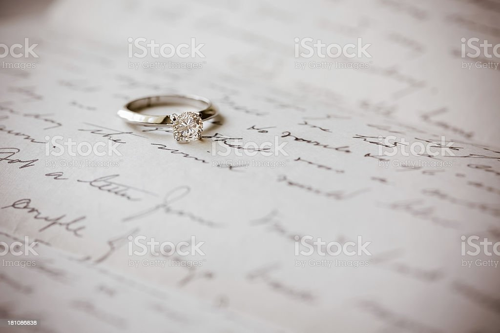 Solitaire Diamond Engagement Ring royalty-free stock photo