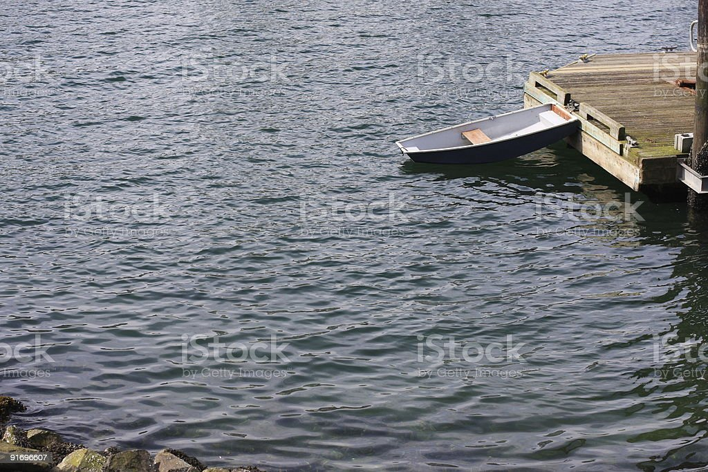 Solitary Boat in False Creek, Vancouver, British Columbia, Canada royalty-free stock photo