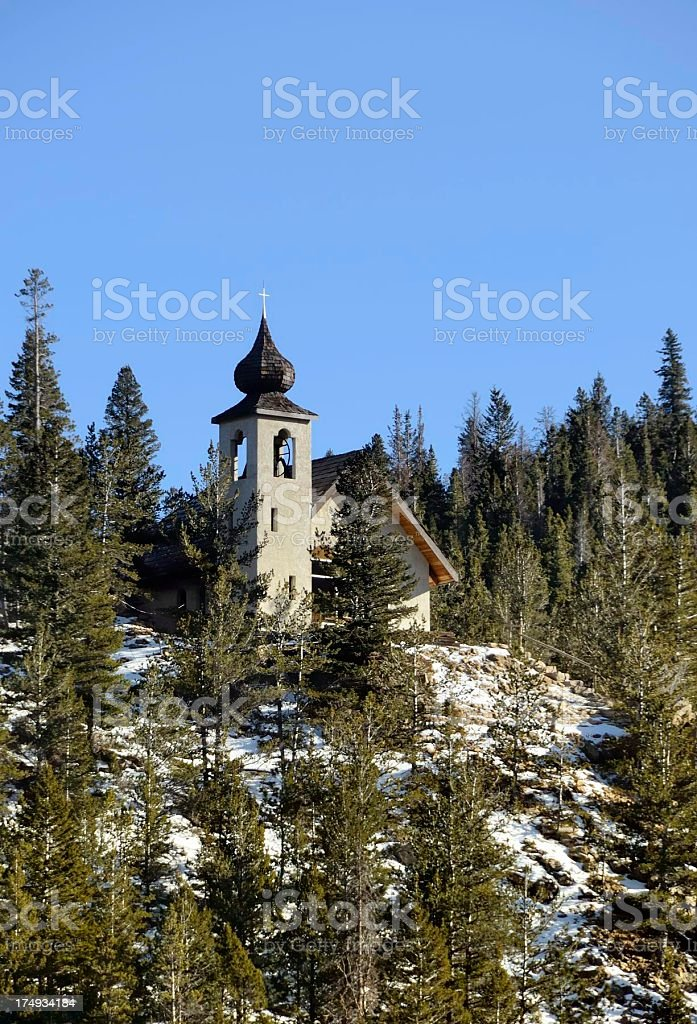 Solitary church on Rocky Mountain royalty-free stock photo