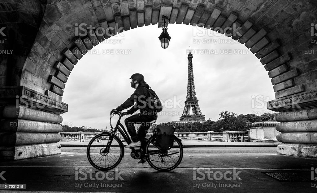 Solitary Cyclist stock photo