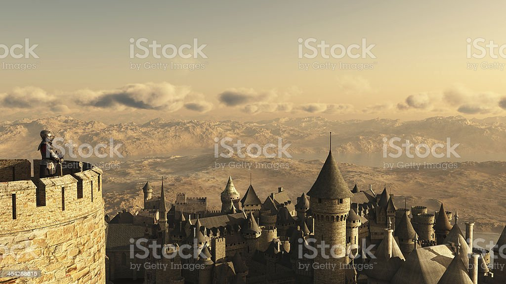 Solitary Knight Guarding the Battlements stock photo