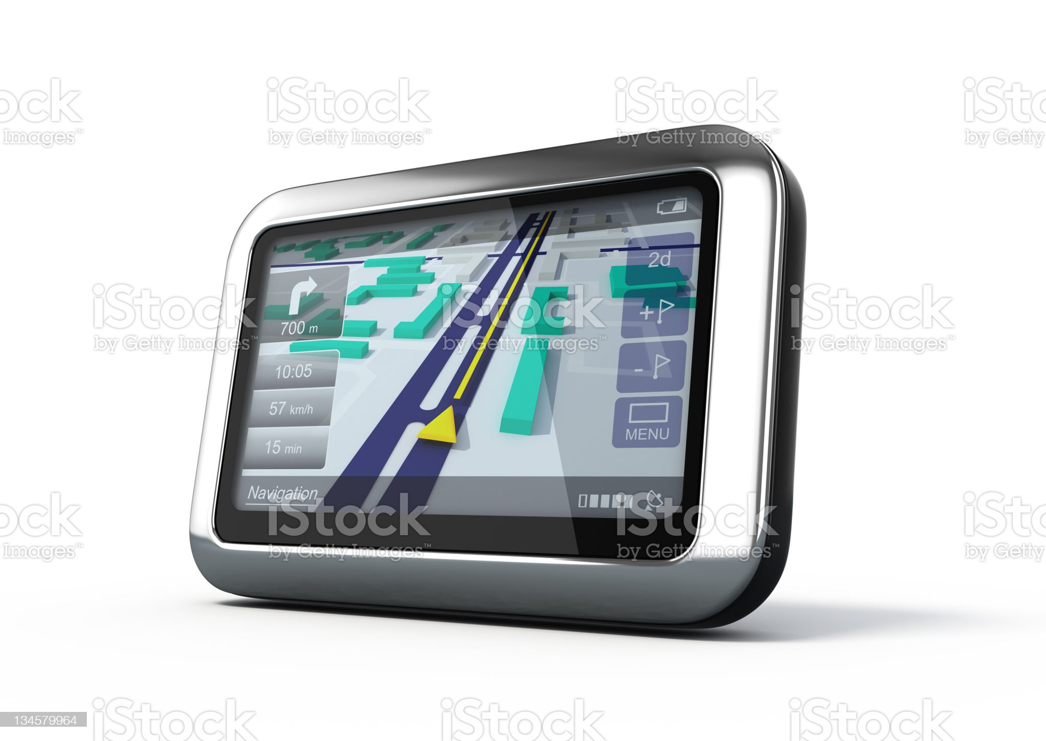 Solitary photo of a GPS navigator on white background royalty-free stock photo
