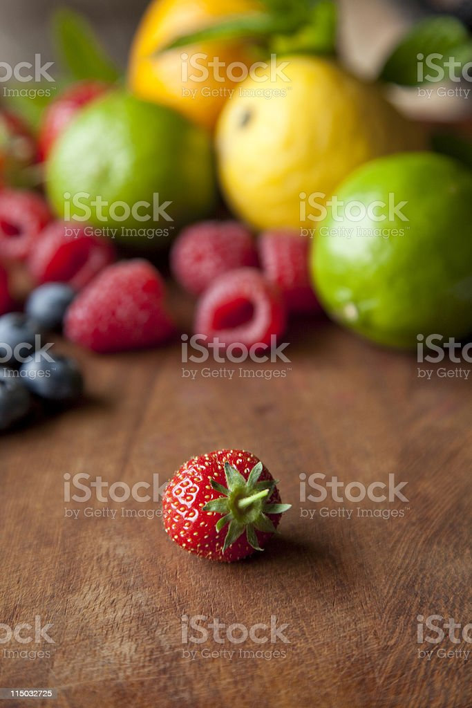 Solitary Strawberry stock photo
