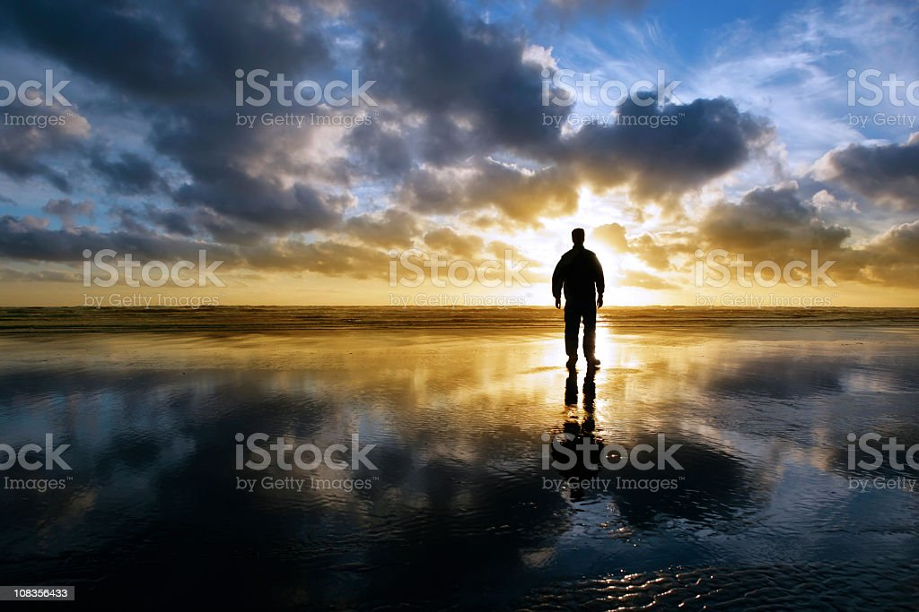 XXL solitude beach silhouette stock photo