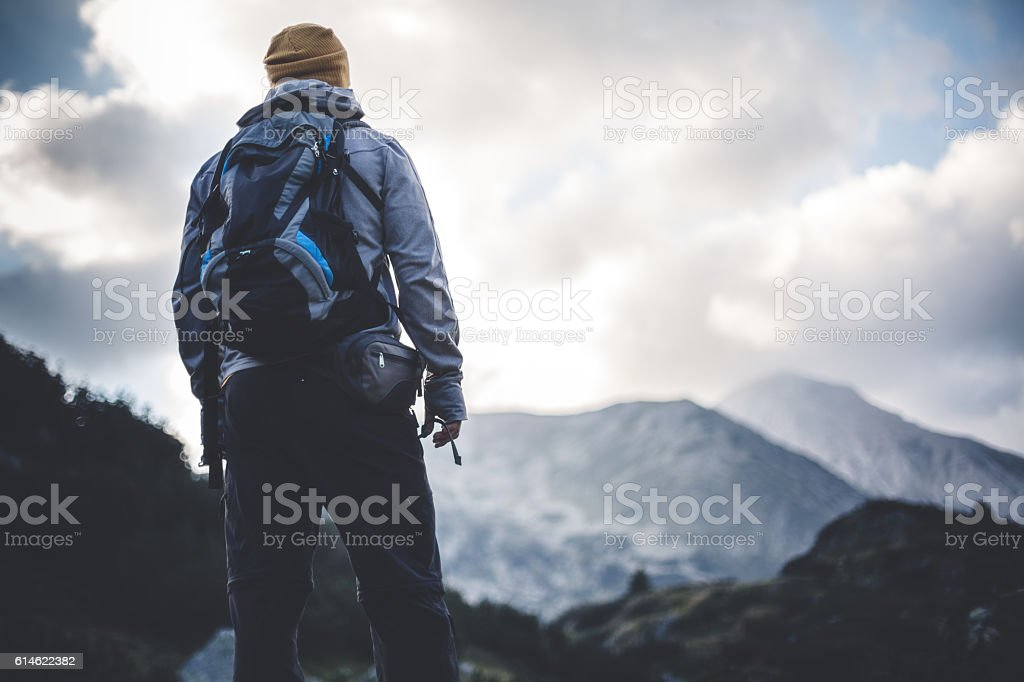Solitude in mountains stock photo