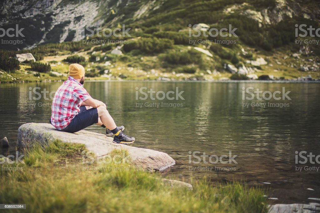 Solitude in mountains stock photo