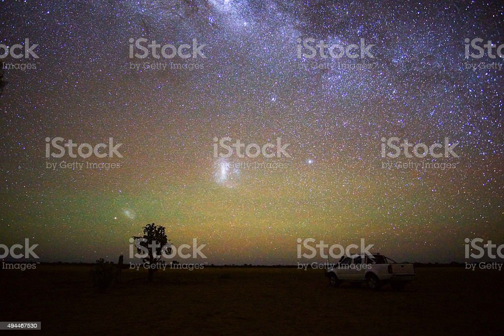 Solitude on a starry night stock photo
