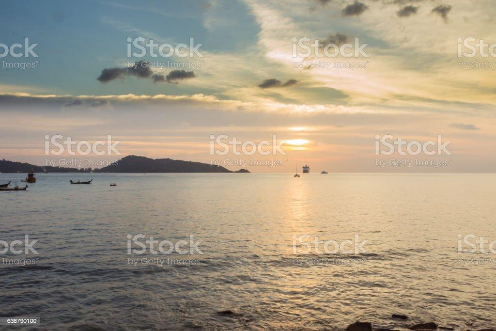 Solitude sunset and Kalim beach, Phuket, Thailand stock photo