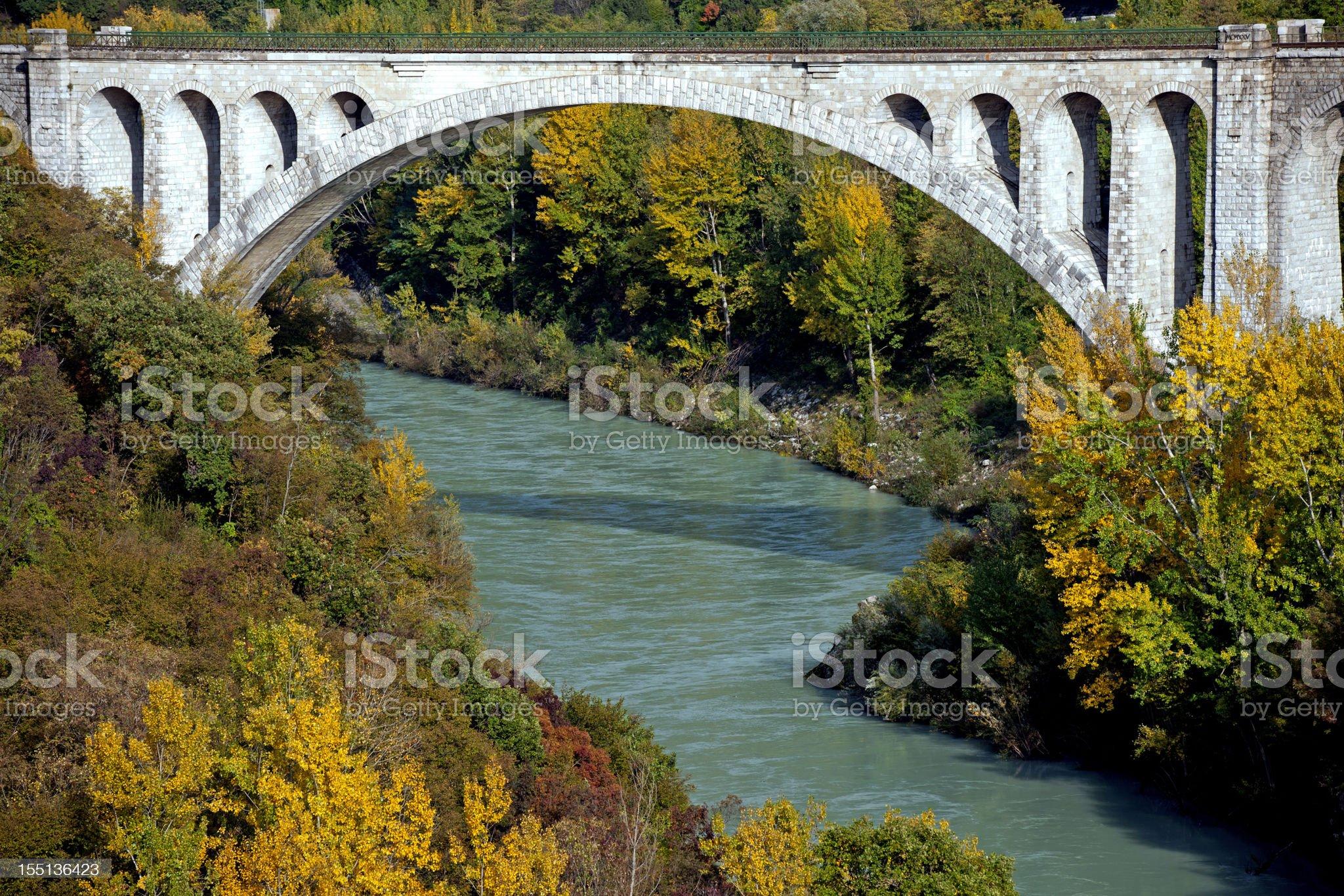 Solkan Stone Bridge over Soca River royalty-free stock photo