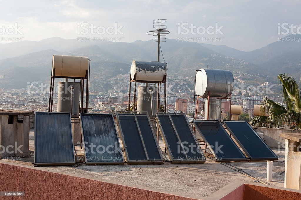 Sollar thermal collectors royalty-free stock photo