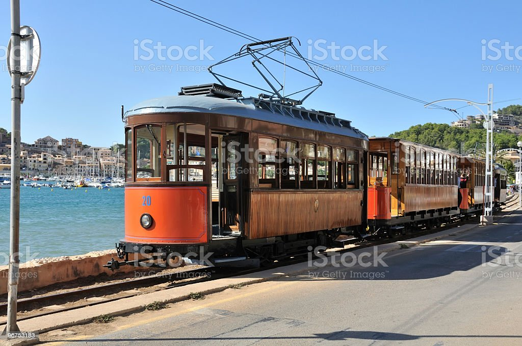 Soller tram in the rails by the water stock photo
