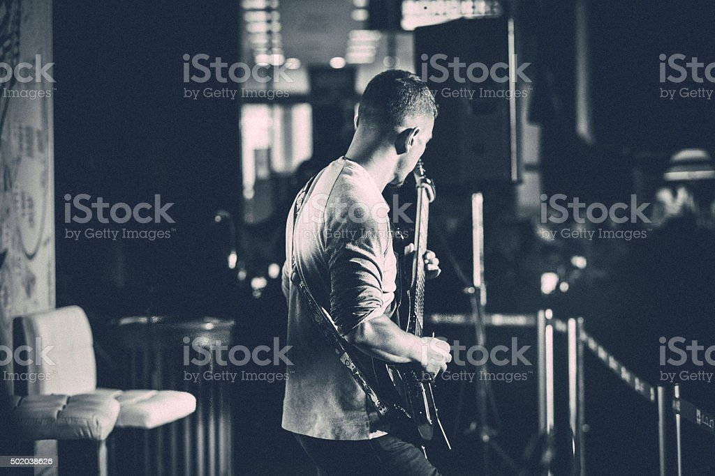 Solo Artist at a Musical Event stock photo