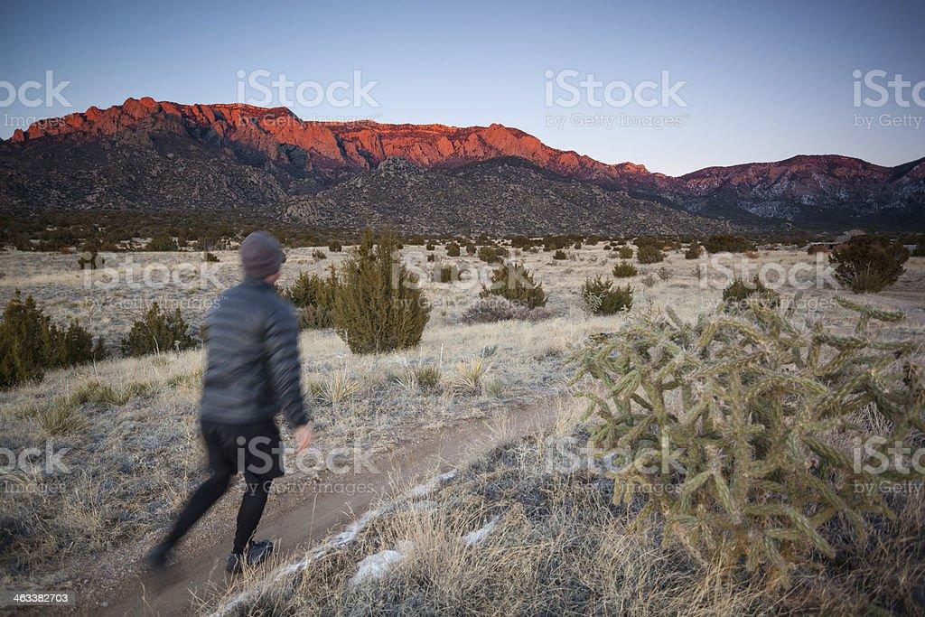 solo hiking man desert mountain sunset royalty-free stock photo