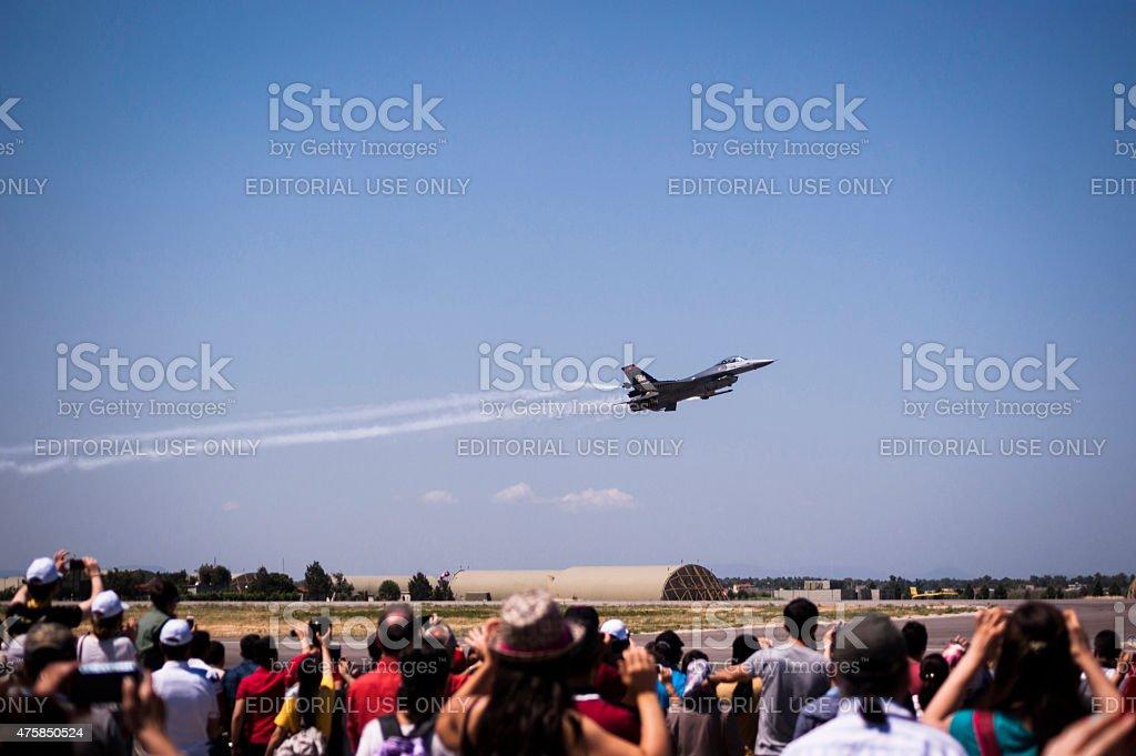 Solo Turk war plane on a demonstration flight. stock photo