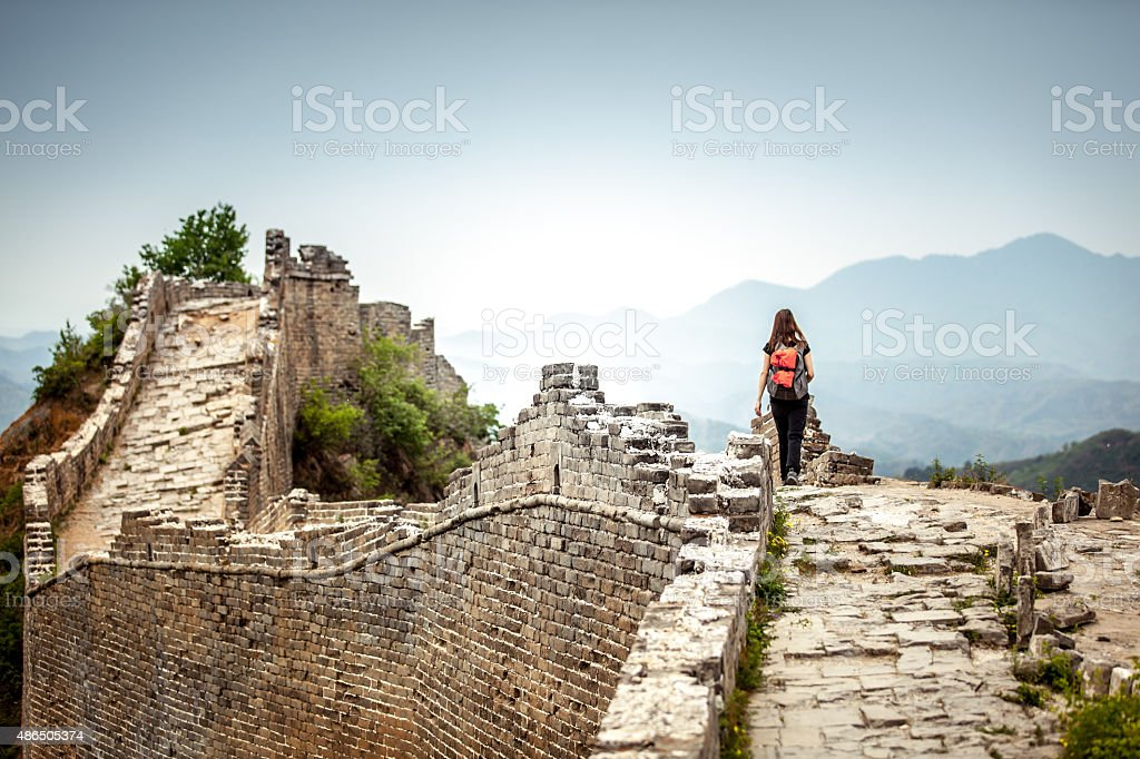 Solo Woman Tourist at Great Wall Of China stock photo