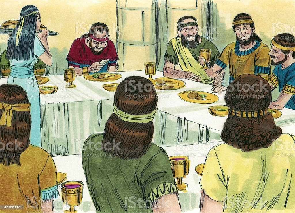 Solomon Excluded from Feast stock photo