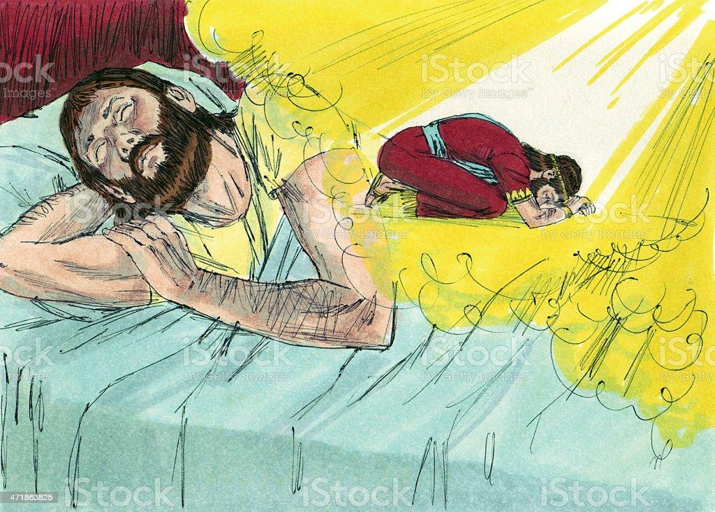 Solomon Hears from God in Dream stock photo