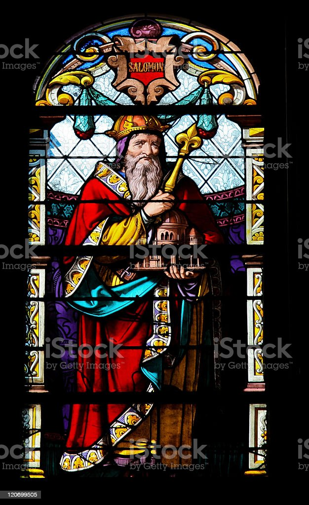 Solomon on a large stain glass window stock photo