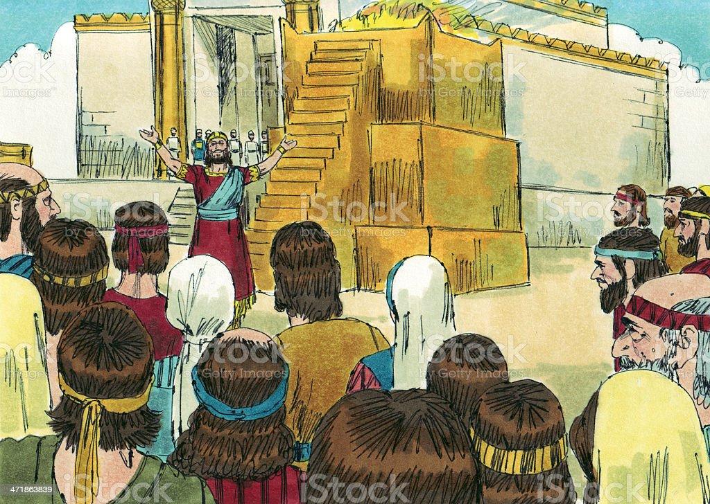 Solomon Prays at Rebuilt Temple stock photo