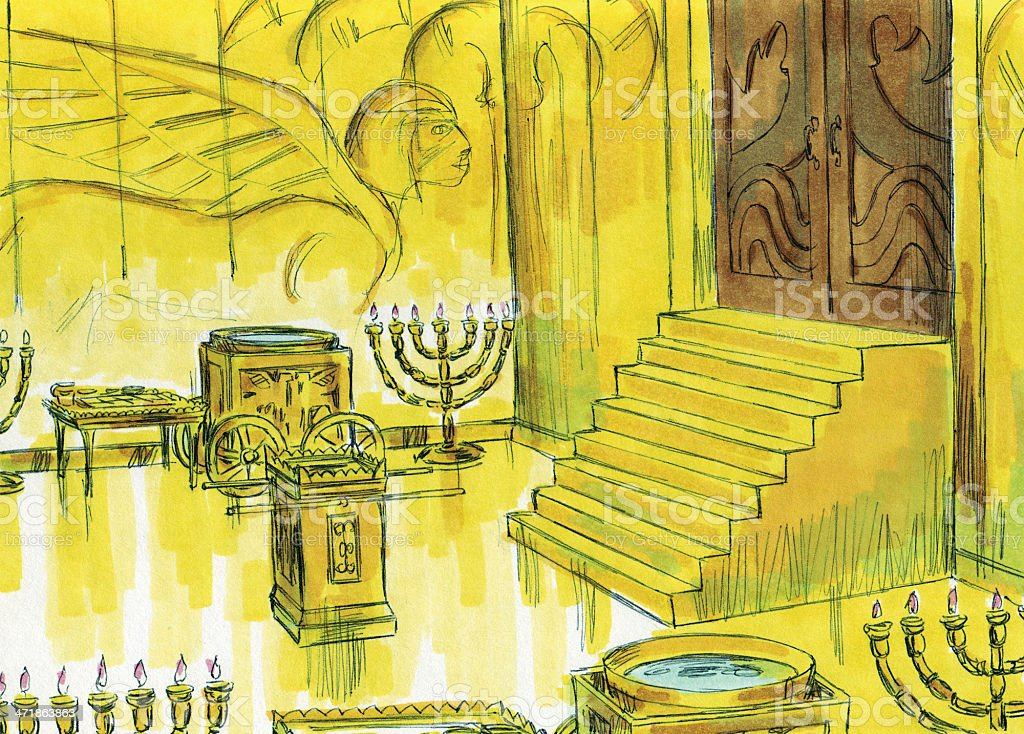 Solomon--Holy Place in Rebuilt Temple stock photo