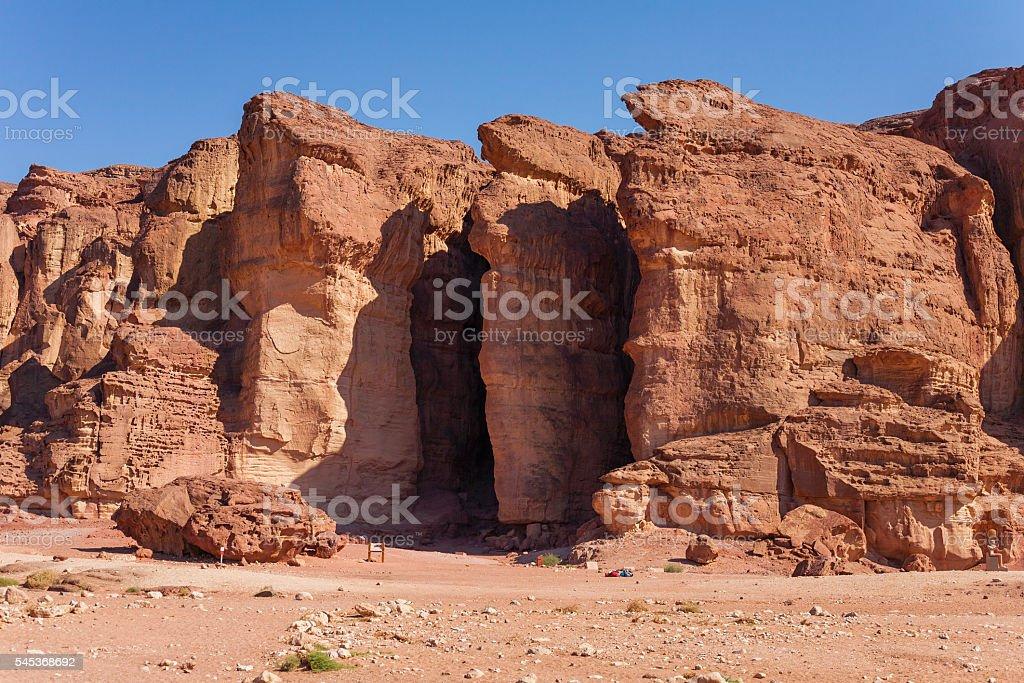Solomons Pillars Sandstones in Timna Park, Israel stock photo