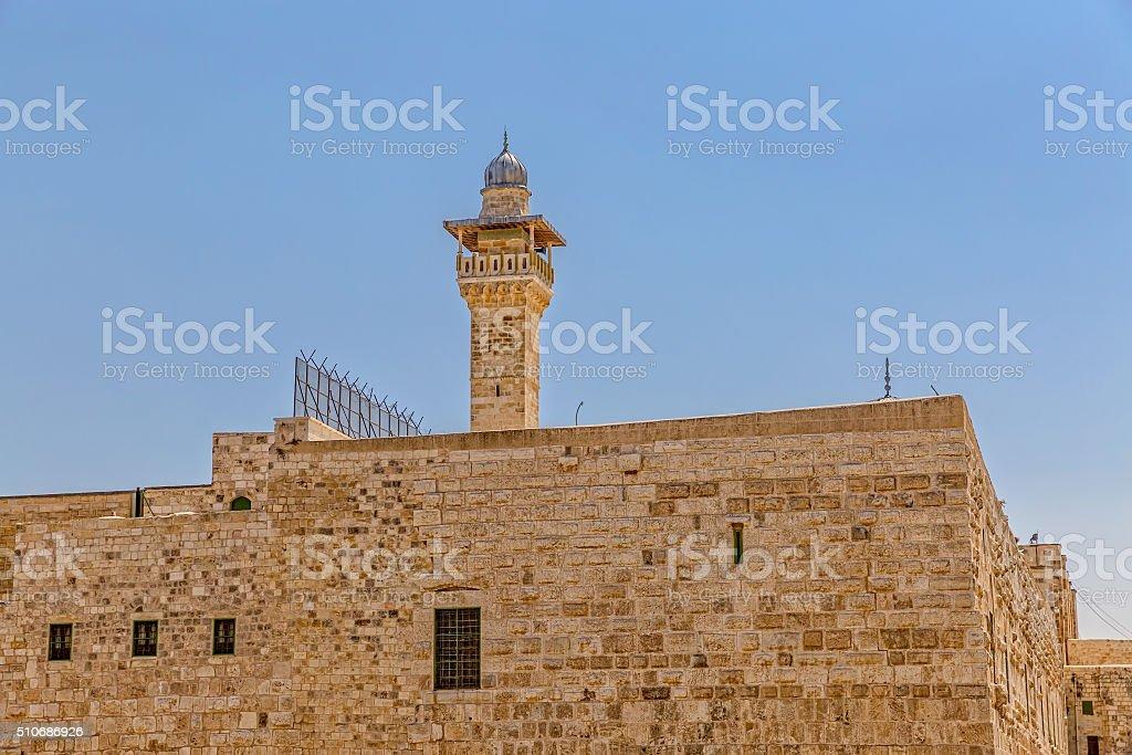 Solomon's temple and Al-Aqsa Mosque minaret Jerusalem stock photo
