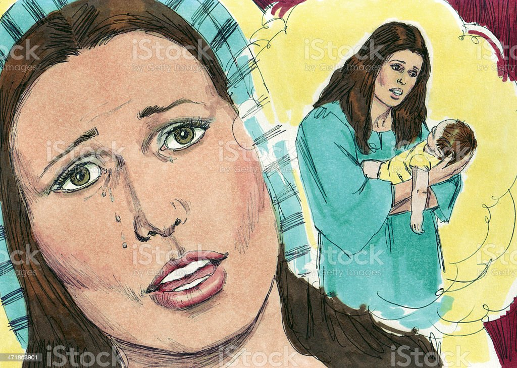 Solomon--Woman's Baby Died stock photo
