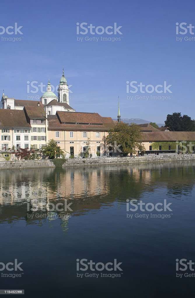 Solothurn from Across the Aare stock photo