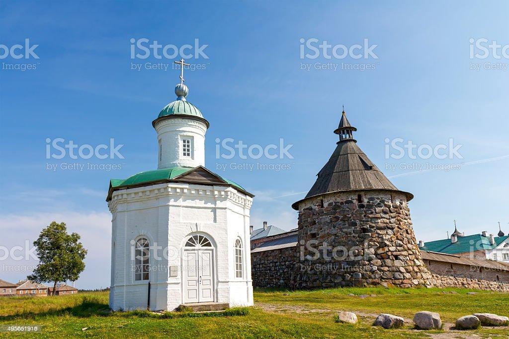 Solovetsky Islands (Solovki). Solovetsky (Spaso-Preobrazhensky) monastery, Russia stock photo