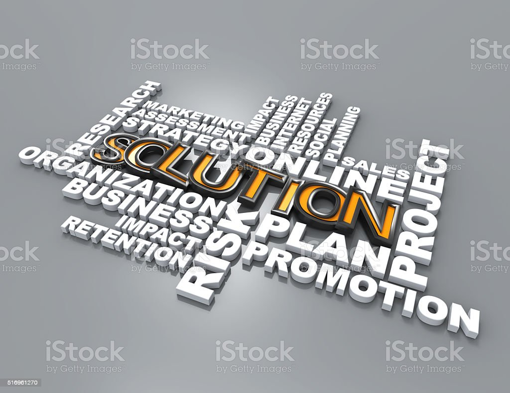 Solution 3d crossword concept stock photo